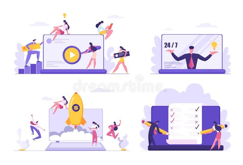 Set of Developers Group Make Application, Site Design, Customer Support Assistance, Business Project Start Up. Managers, Office Workers Filling Check List on vector illustration