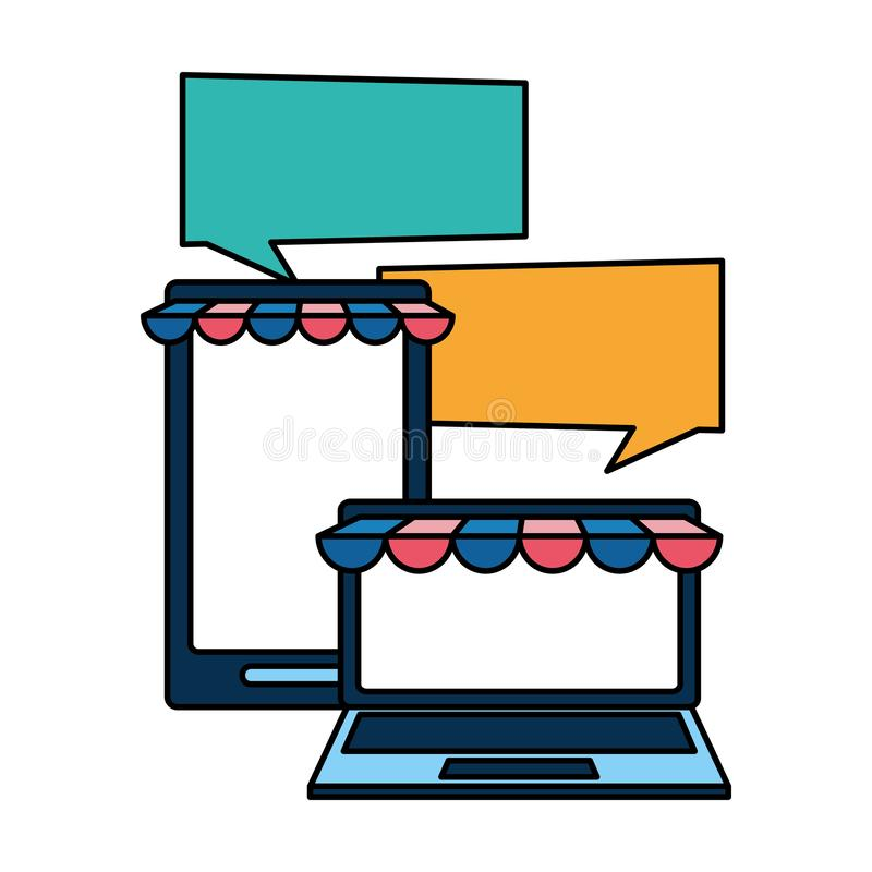 Set devices with ecommerce tents. Vector illustration design royalty free illustration