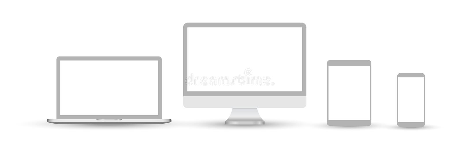 Set of devices icons. Set of devices icons. Devices isolated on white background. Icons: computer screen, laptop, tablet pc,. Smartphone, electronic book royalty free illustration