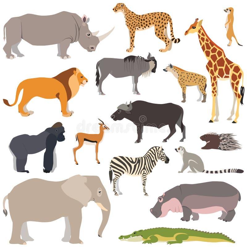 Set di animali africani fotografia stock