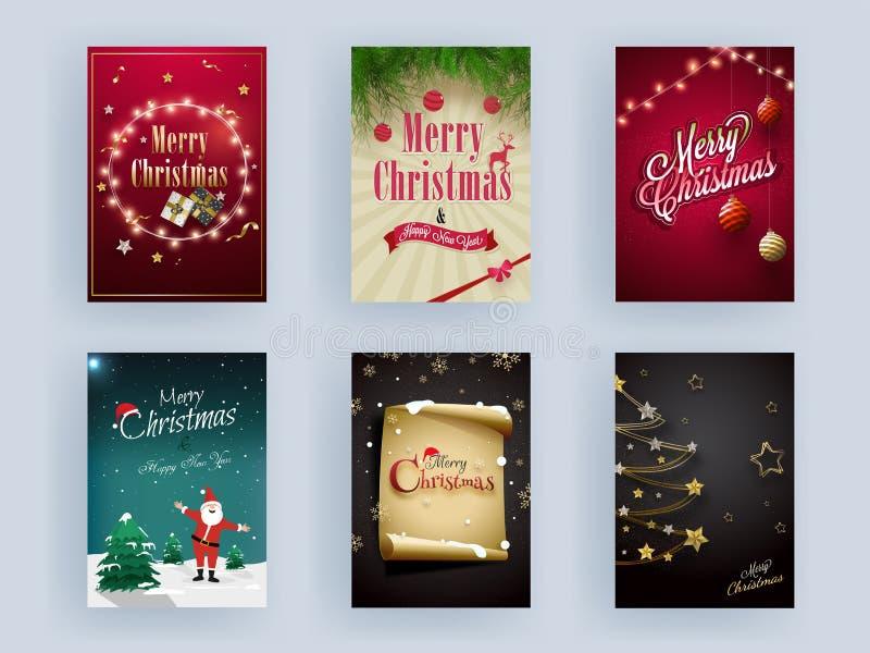Set di auguri di buon Natale e Buon anno modello o design volantino decorato con Babbo Natale, alberi di Natale, Bauble, Stella d illustrazione vettoriale