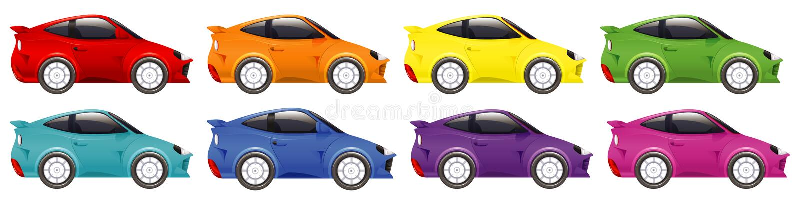Set di auto da corsa a colori su fondo isolato illustrazione vettoriale