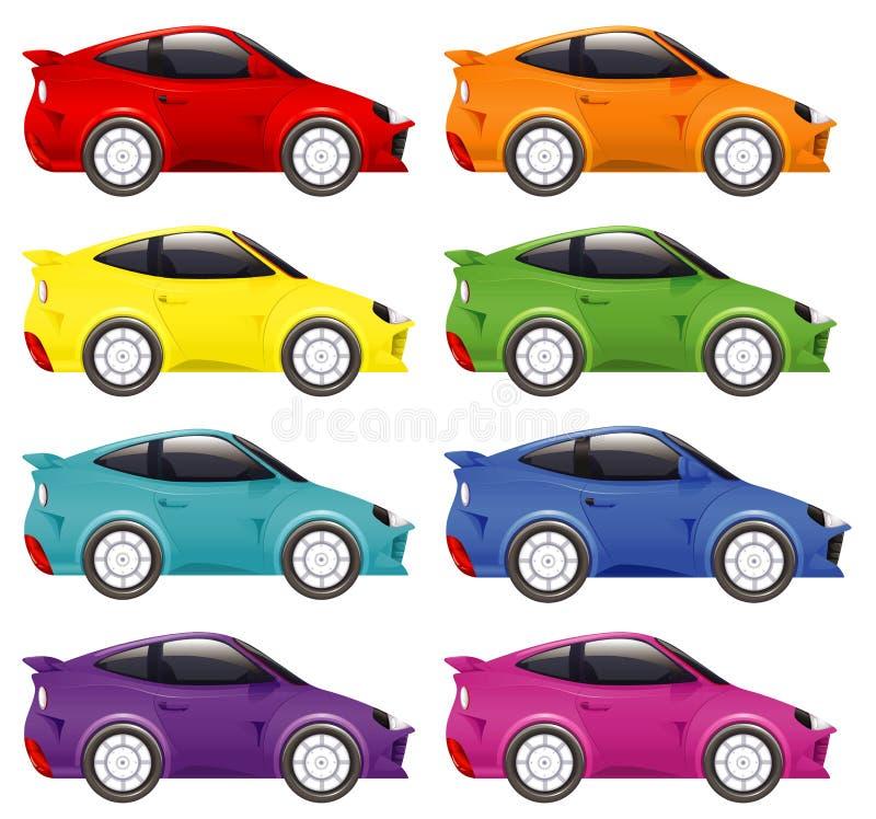 Set di auto da corsa di diversi colori royalty illustrazione gratis