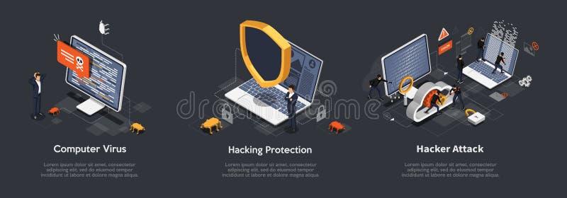 Set di concetti di hacking isometrico Serie di illustrazioni di virus informatici, protezione dagli attacchi di hacker, attacco d illustrazione vettoriale