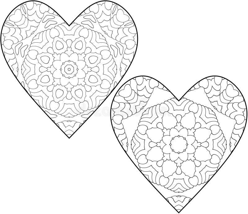 Set di due pagine coloranti per bambini e adulti Colorazione semplice con piccoli particolari sotto forma di cuori illustrazione di stock