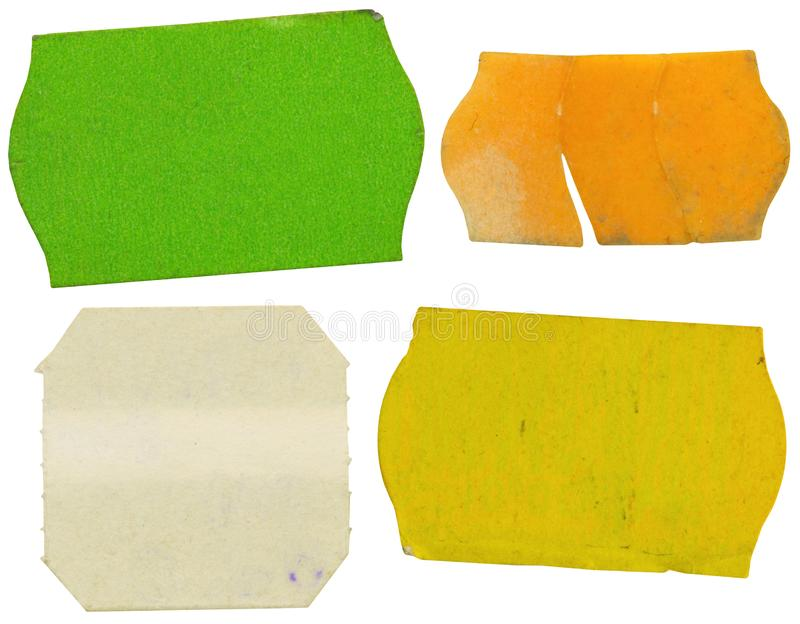 Set di etichette di prezzo adesive grigie, etichette di prezzo, con spazio di copia libero, isolate su fondo bianco fotografie stock libere da diritti
