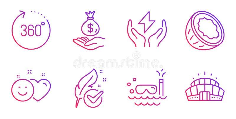 Set di icone Coconut, Income money e Smile 360°, segni di immersione ippoallergenica e segni di immersione subacquei Vettore illustrazione vettoriale