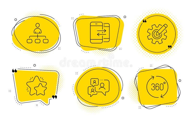 Set di icone di comunicazione Gestione, Stella e Telefono Supporto di segnali chat, CogWheel e 360 gradi Vettore royalty illustrazione gratis