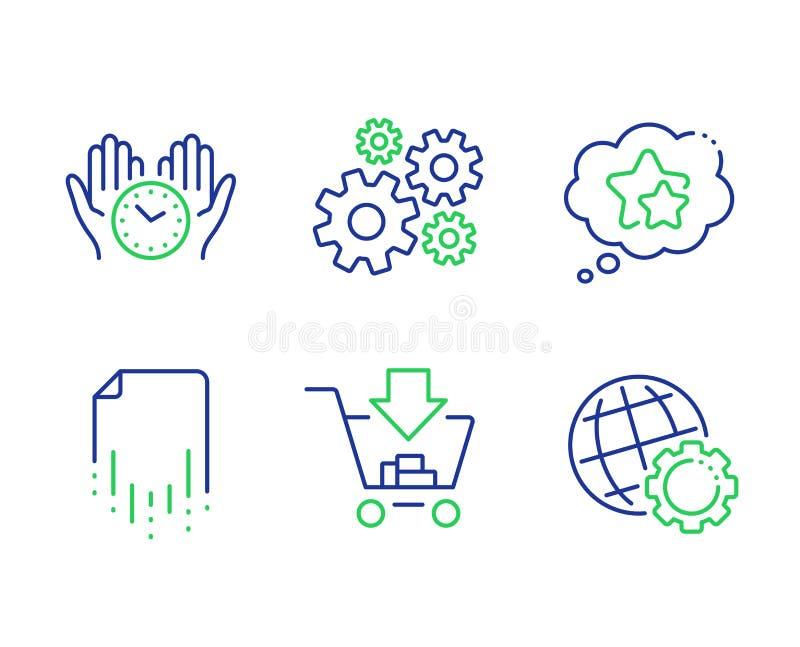 Set di icone del file di ripristino, delle stelle di Cogwheel e Ranking Tempo di salvezza, Shopping e cartelli Globe Vettore royalty illustrazione gratis