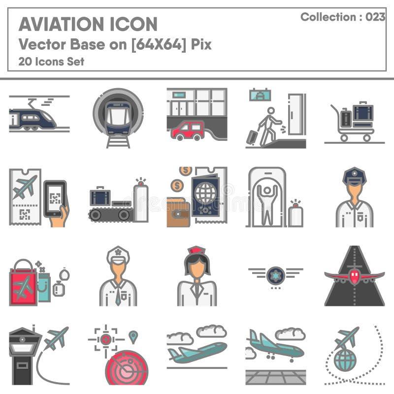 Set di icone dell'aeroporto per i trasporti e l'aviazione, Icons Collection Collection of Transport Airline for Business Travel S royalty illustrazione gratis