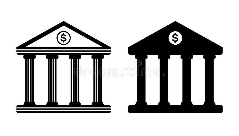 Set di icone della banca isolate su fondo bianco fotografie stock