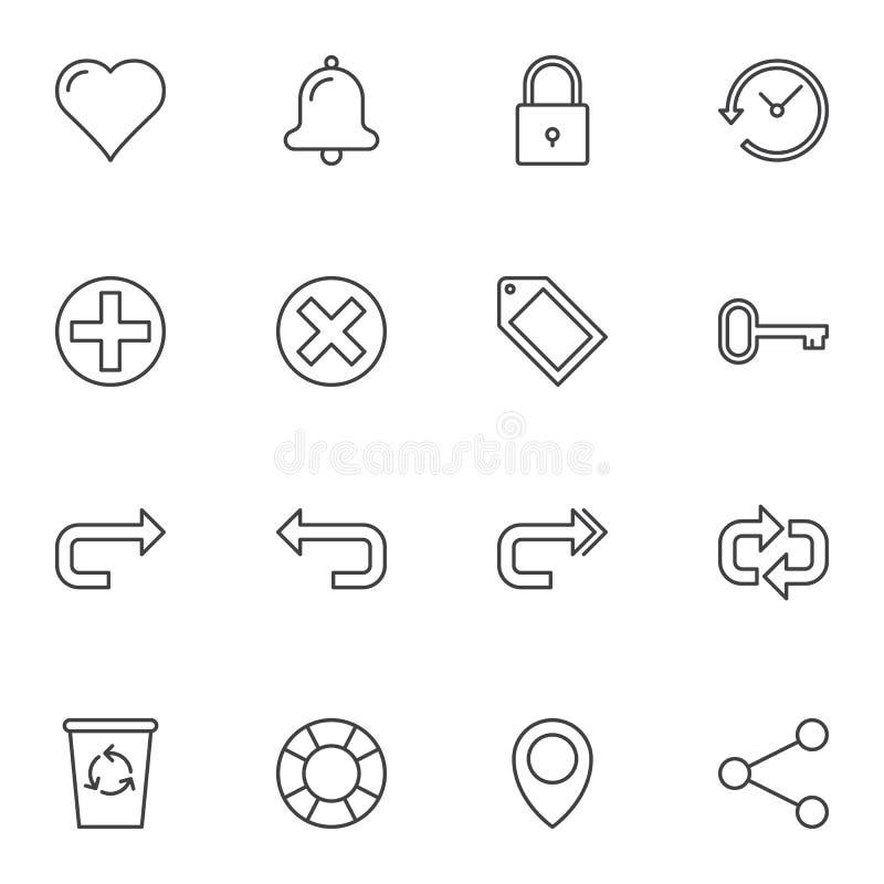Set di icone della linea Universal Basic illustrazione vettoriale