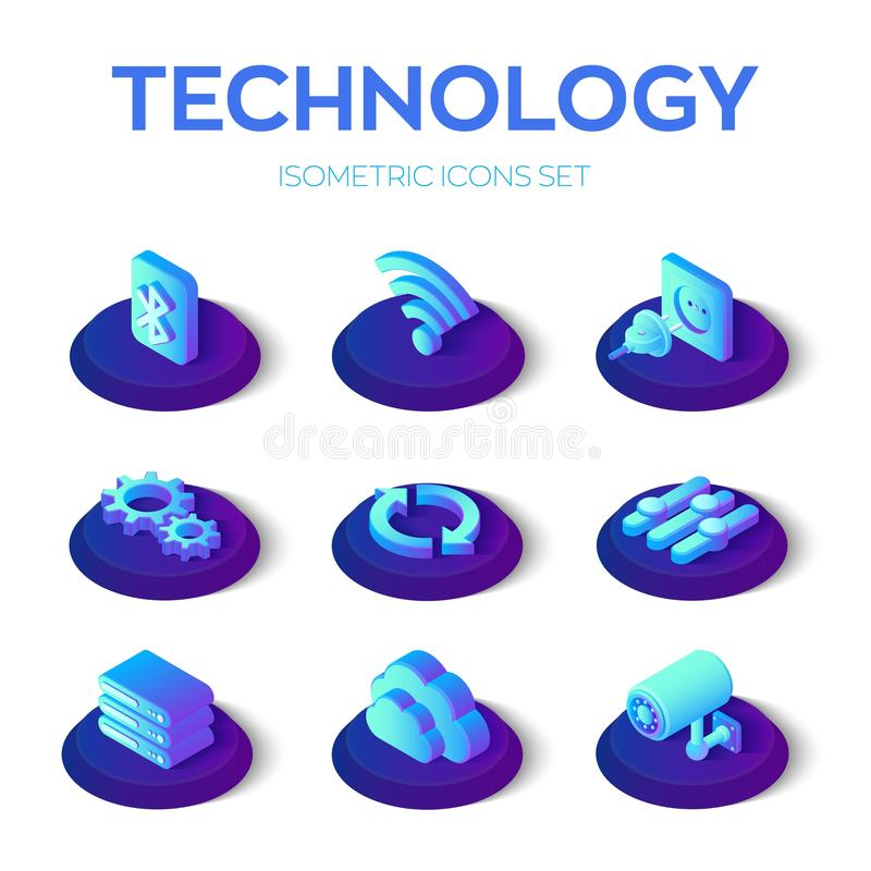 Set di icone della tecnologia isometrica Bluetooth, Wi-Fi, plug and socket, Gears, Update, Settings, Server, Cloud e Camera isome royalty illustrazione gratis