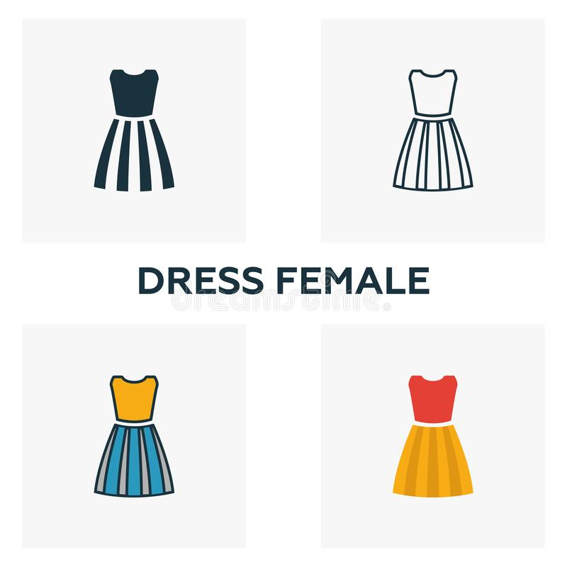 Set di icone di Drew Female Quattro elementi in stili diversi dall'insieme delle icone dei capi Simbolo creativo: icone femminili illustrazione di stock