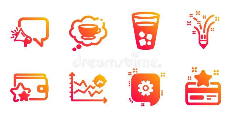 Set di icone per l'analisi Megafone, Cogwheel e Seo L'ispirazione, la coppa del caffè e i programmi di fedeltà Vettore royalty illustrazione gratis