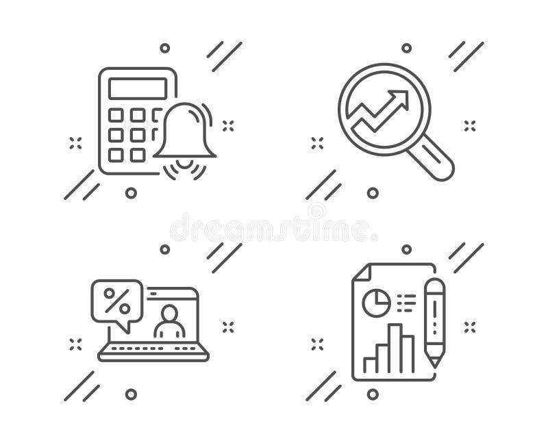 Set di icone relative all'analisi, all'allarme Calcolatore e al prestito online Segnala segno documento Vettore illustrazione vettoriale