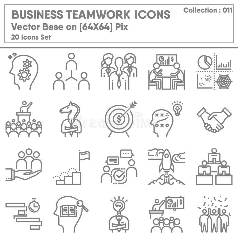 Set di icone relative a Business Teamwork e Leadership, Icone Insieme di Business Entrepreneur per il simbolo di gestione Gruppo  illustrazione di stock