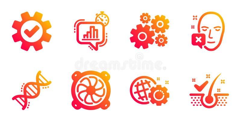 Set di icone relative a servizi, timer statistiche e ventole computer Segnaletica dna di Cogwheel, Seo e Chemistry Vettore royalty illustrazione gratis