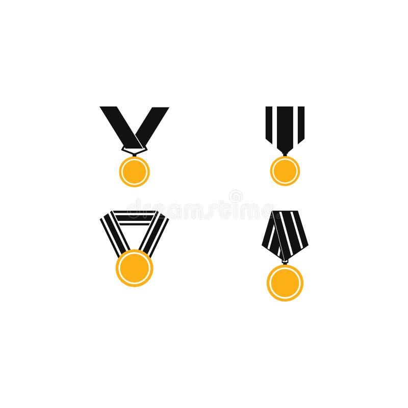 Set di illustrazioni vettoriali dell'icona medaglia illustrazione vettoriale