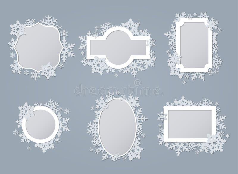 Set di insiemi di fotogrammi di snowflake bianchi illustrazione vettoriale
