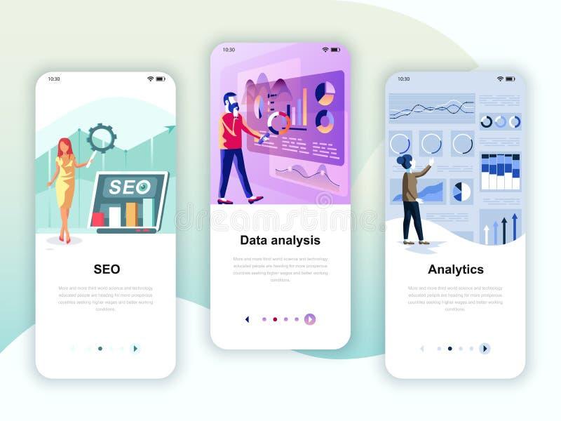 Set di kit di interfaccia utente per schermi onboard per SEO, Data Analysis, Analytics, concetto di modelli di app mobili royalty illustrazione gratis