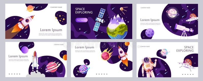Set di modelli di banner Web Presentazione Design moderno con cartone animato Buchi neri Esplorazione spaziale Illustrazione dei  illustrazione di stock