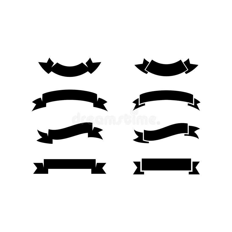 Set di nastri neri su fondo bianco fotografie stock libere da diritti