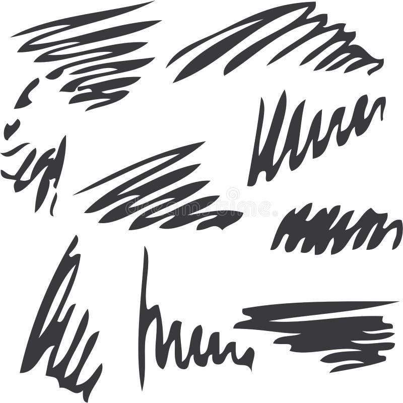 Set di pennelli dell'inchiostro di scarabocchio isolato su fondo bianco fotografia stock libera da diritti