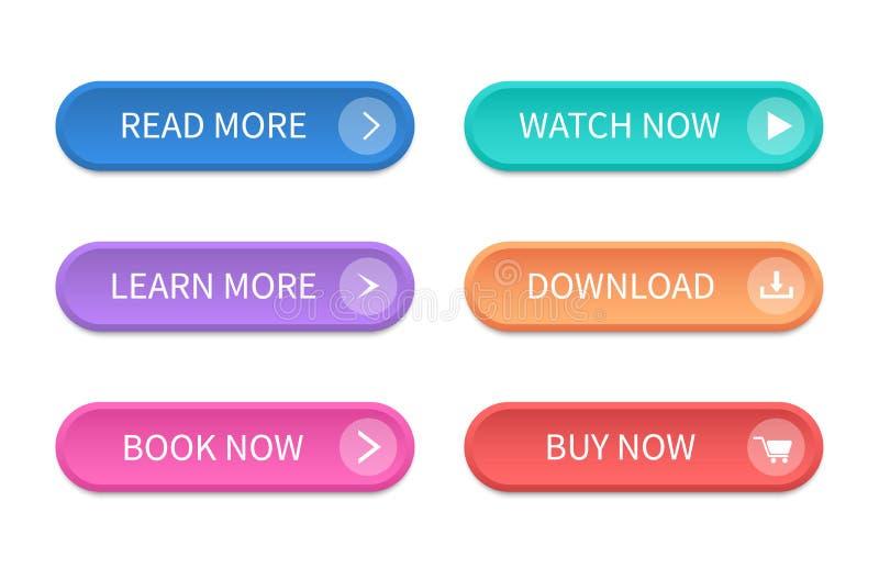 Set di pulsanti moderni per sito Web e ui Icona Vettore immagini stock libere da diritti