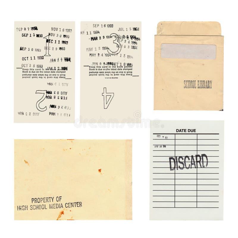 Set di schede di libreria con una pagina del libro Media Center del liceo di Vintage fotografie stock libere da diritti
