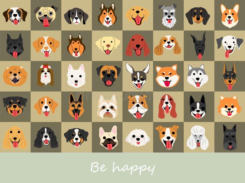 Set di sfondo illustrazioni del cane sorriso illustrazione vettoriale