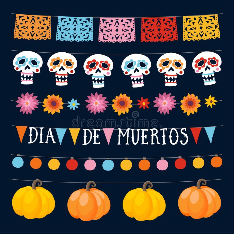 Set of Dia de los Muertos, Mexican Day of the Dead garlands with lights, bunting flags, ornamental skulls and pumpkins. Collection of Halloween garden party stock illustration