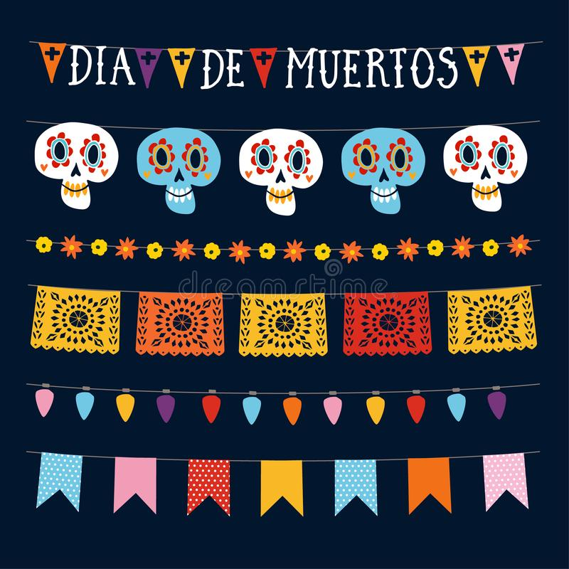 Set of Dia de los Muertos, Mexican Day of the Dead garlands with lights, bunting flags, papel picado and ornamental. Skulls. Collection of Halloween garden vector illustration
