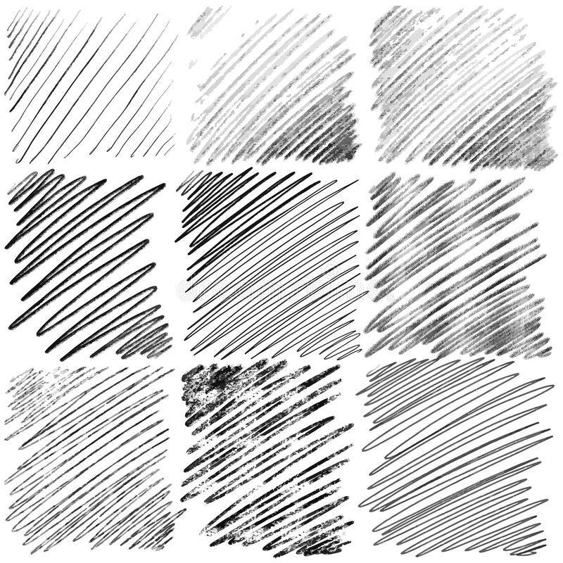 Set of diagonal hand drawn lines by pen stock illustration