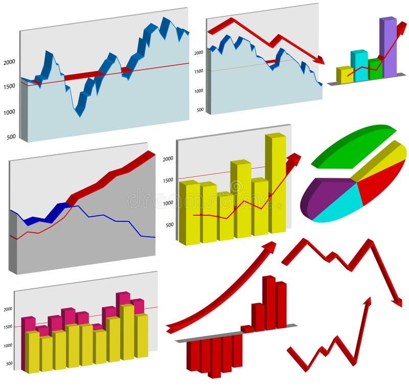 Set Diagramme des Geschäfts 3d stock abbildung