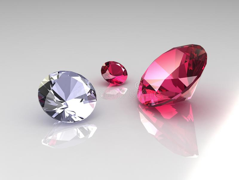 Set of diamond and ruby gems. 3D royalty free illustration
