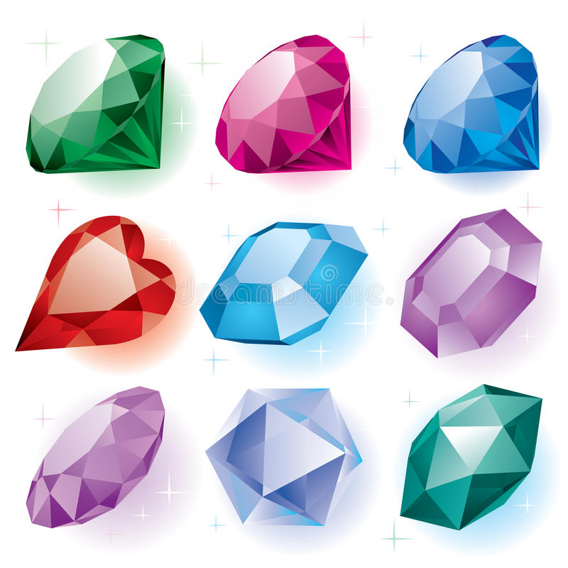 Set of diamonds. Isolated raster version of set of diamonds of various shapes on a white background (contain the Clipping Path of all objects) There is in