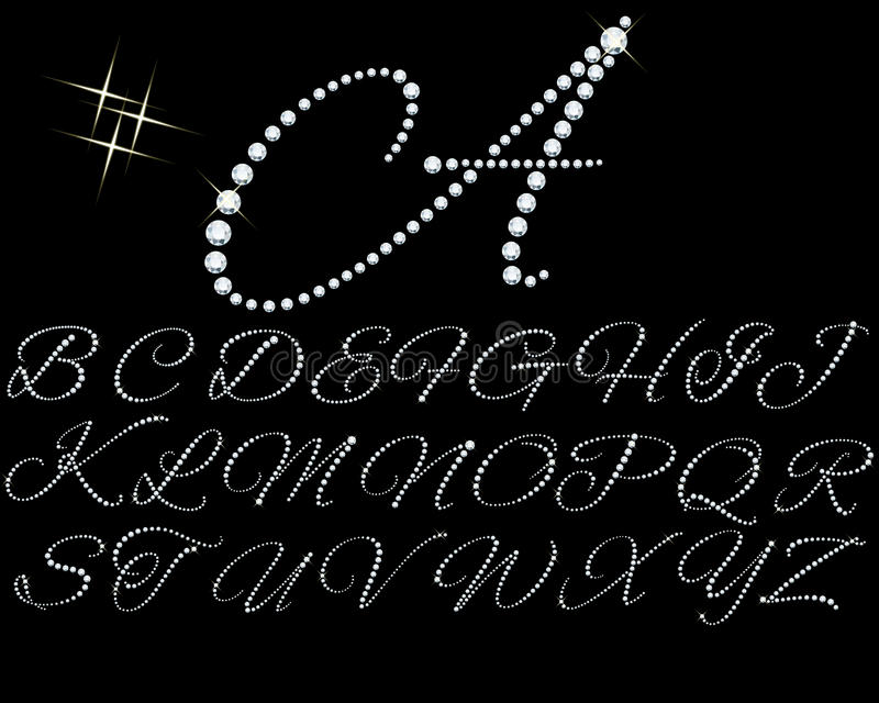 Set of diamonds letters illustration vector illustration