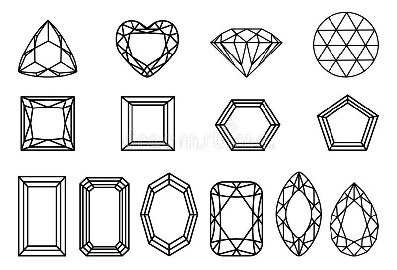 Set of diamonds, precious stones of different forms of cut. royalty free illustration