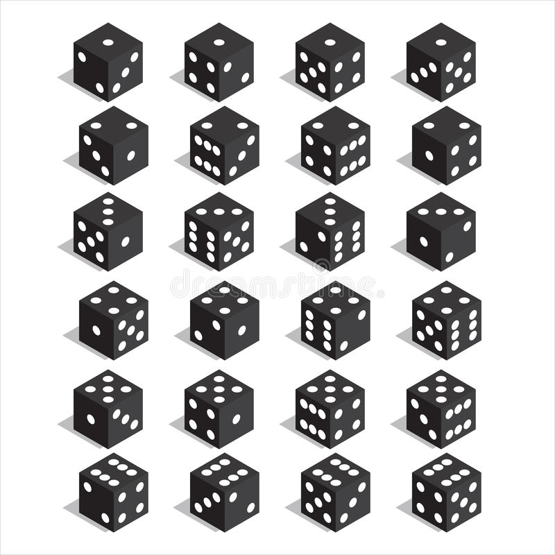 A set of dice. Isometric dice. Twenty-four variants loss dice. royalty free illustration