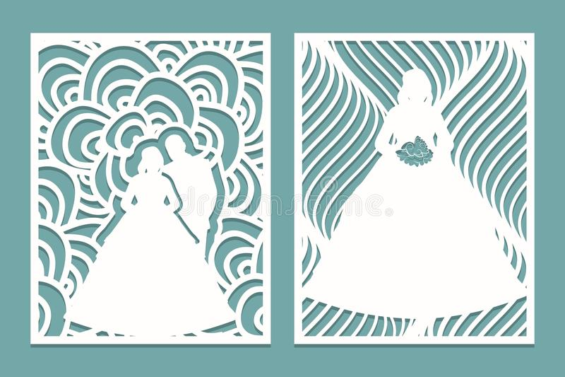 Set of die laser cut card with the silhouette of the bride and groom. Template for wedding invitation or greeting card. Panel sten vector illustration