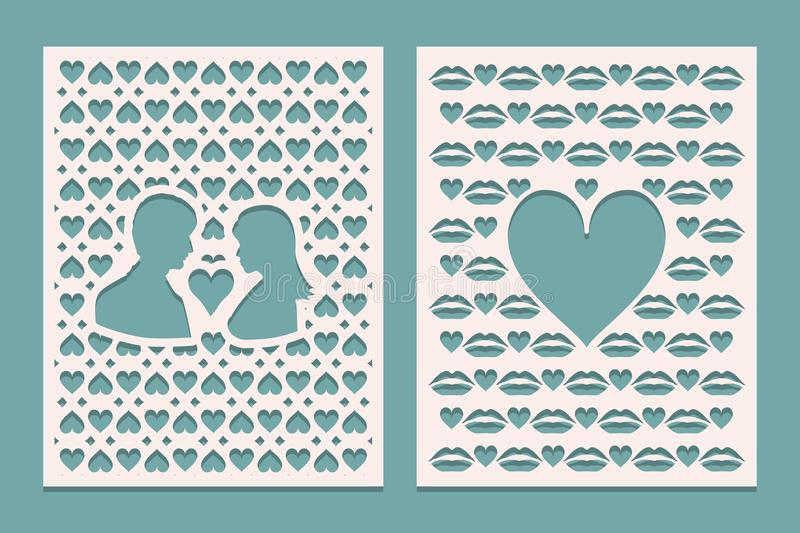 Set of die laser cutting panels with openings in the form of silhouettes for Valentines day. May be used for laser cut. Openwork b. Ackground. Vector vector illustration