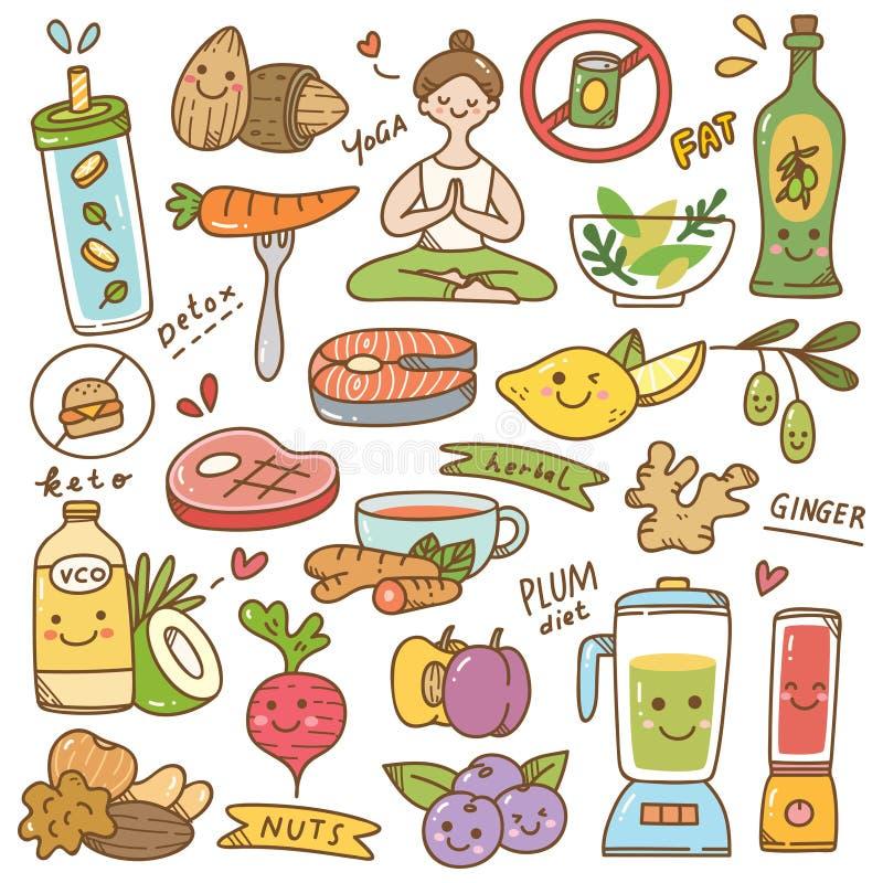 Set of diet kawaii doodle stock illustration