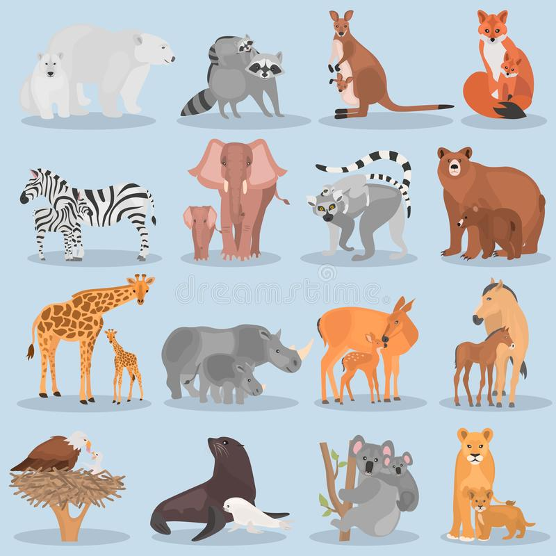 Set of different adult animals and their cubs color flat icons. Set of different adult animals and their cubs color icons vector illustration