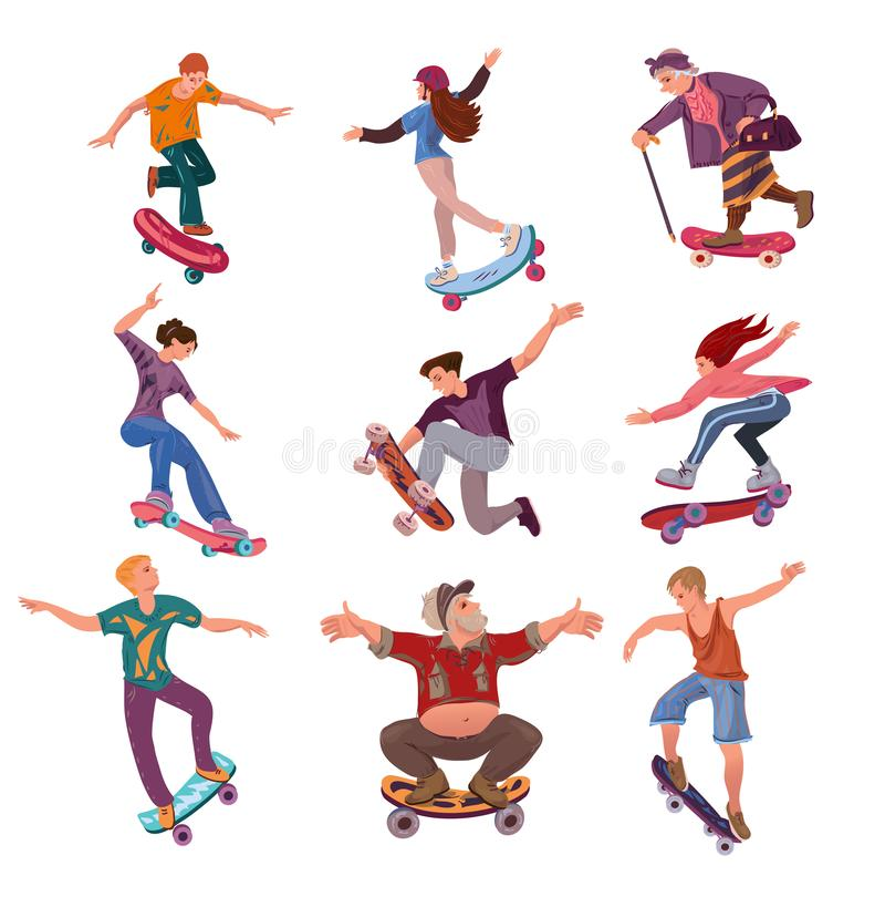 Set of different ages people on skateboard in city park. Set of different ages modern people on skateboard in city park. Cartoon style. Vector illustration on stock illustration