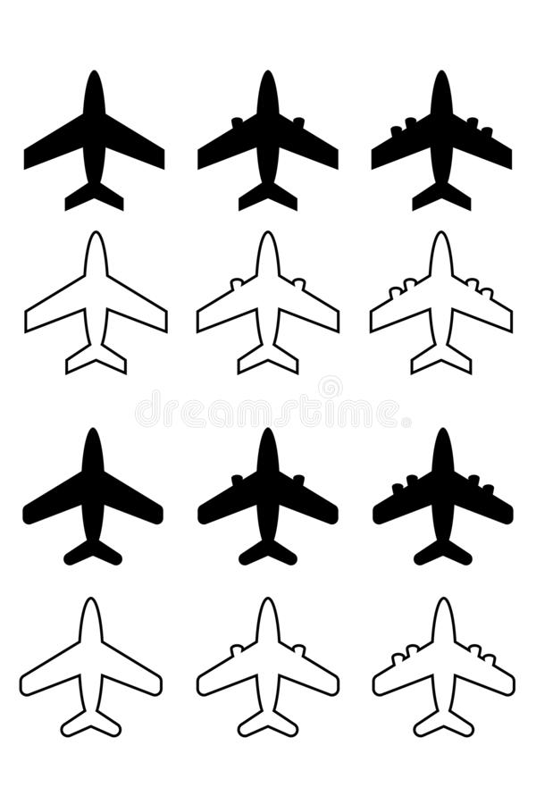 Set of different airplanes icons white background royalty free illustration