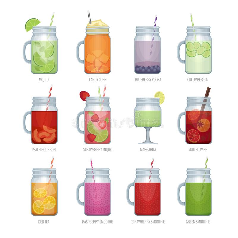 Set of different alcohol cocktail and smoothie mason jar vector illustration