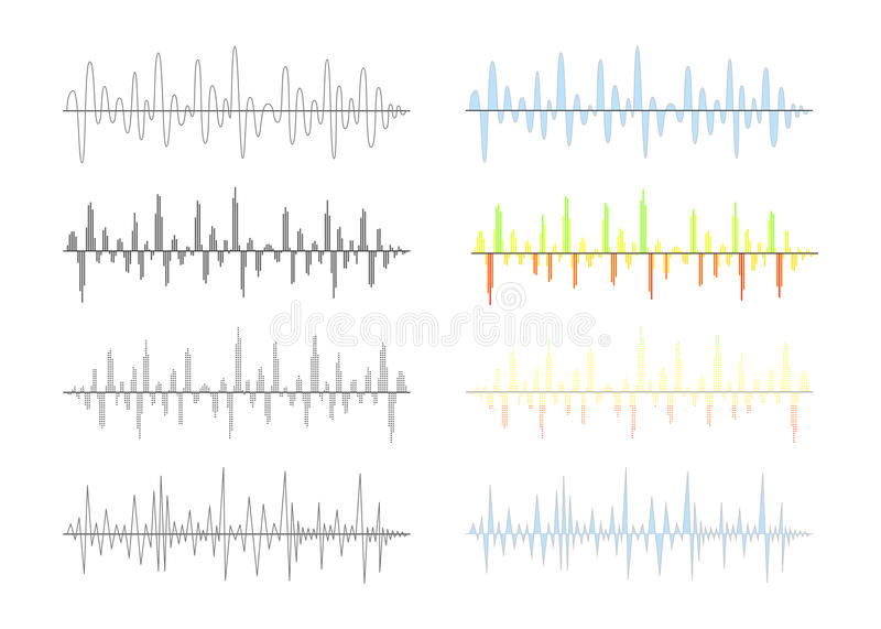 Set of different analog and digital signal waves graphs on white royalty free illustration