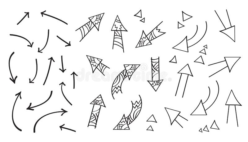 Set of different arrows. Hand drawing elements. Doodles, sketch for your design. vector illustration