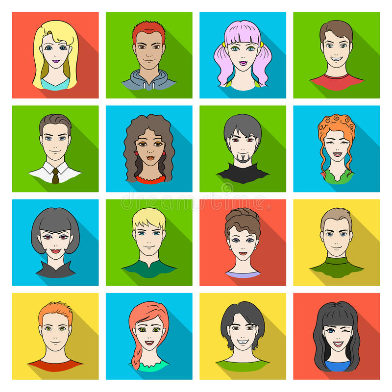 Set of different avatars girls and men. Avatar and face icon in set collection on flat style vector symbol stock royalty free illustration